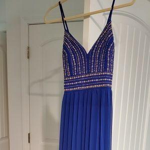 Lulus royal blue embroidered dress